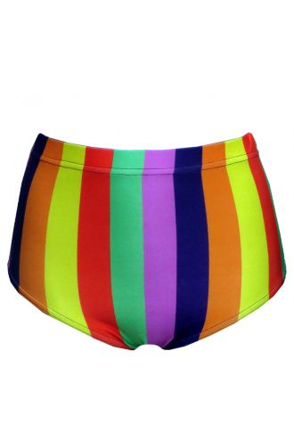 Funky Multicoloured Rainbow Vertical Stripes High Waist Bikini Bottoms