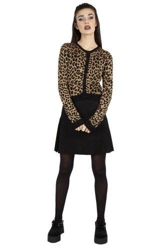 Leopard Design Cropped Retro Vintage 50's Rockabilly Knit Cardigan