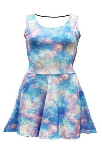 Girls Light Galaxy Space Universe Stars Printed Sleeveless Skater Dress
