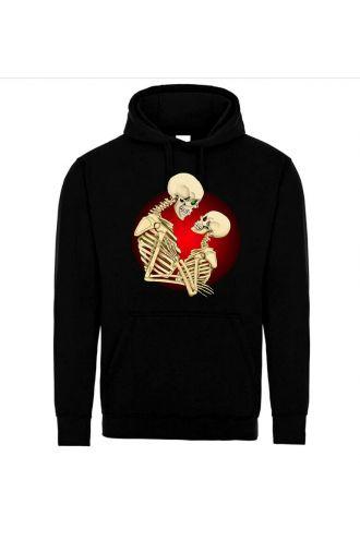 Love Never Dies Skeletons Skull Pull Over Fleece Hoodie