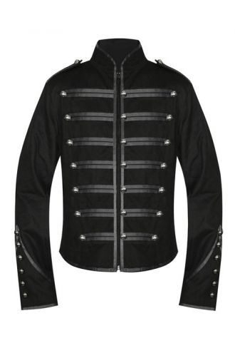 Men's Unique Gothic Steampunk Black Parade Military Marching Band Drummer Jacket
