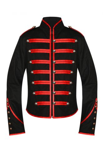 Men's Unique Gothic Steampunk Red Black Parade Military Marching Band Drummer Jacket Goth Punk