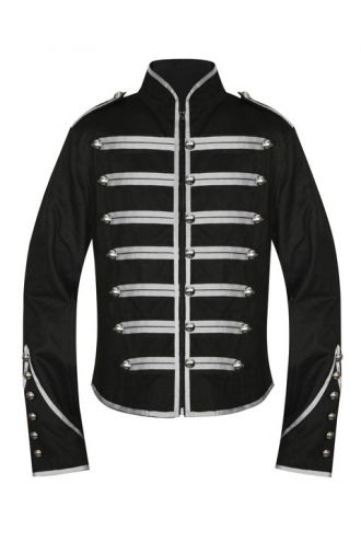Men's Unique Gothic Steampunk Silver Black Parade Military Marching Band Drummer Jacket Goth Punk