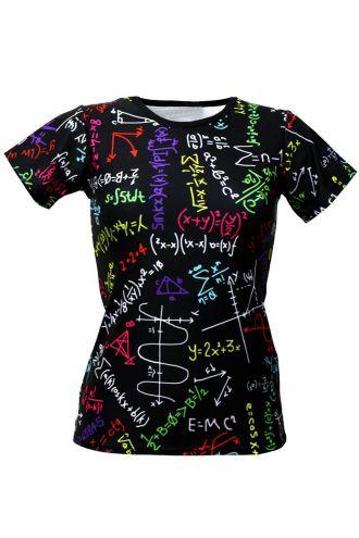 Maths Formulas Blackboard School Print Crew Neck T-Shirt Top