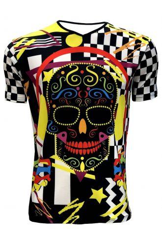 Funky Colourful DJ Pop Sugar Skull Chequer Men's V-Neck Designer T-Shirt Tee