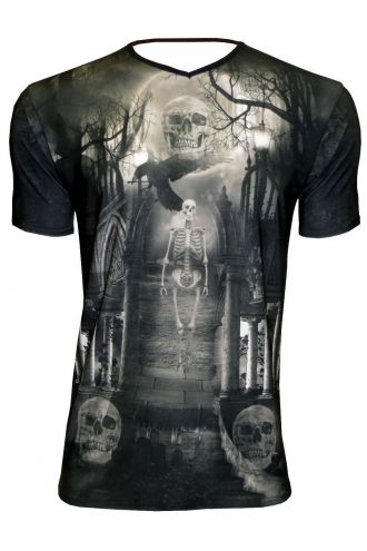 Ethereal Graveyard Gothic Skulls Church Crow Print Men's V-Neck T-Shirt Tee