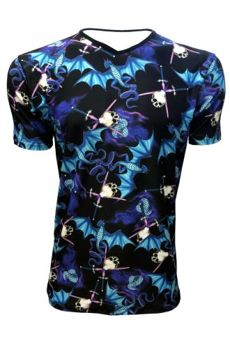 Electric Blue Fire Breathing Dragon Sword Skull Print Men's V-Neck T-Shirt Tee