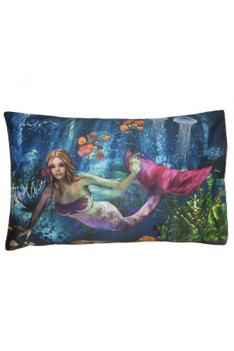 Mermaid And Creatures Of The Sea Underwater Printed Pillowcase