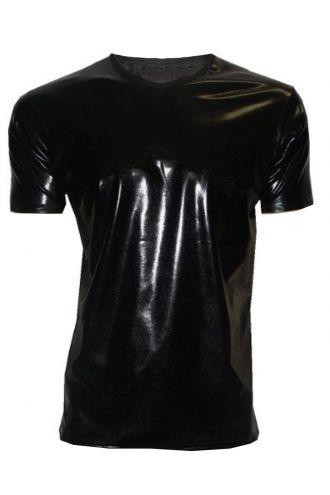 Men's Metallic Wetlook Shiny PVC Black T-Shirt Club Wear Rave