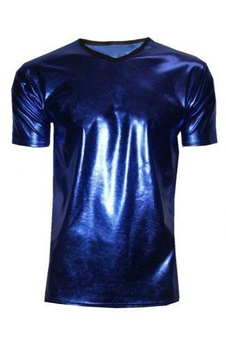 Men's Metallic Wetlook Shiny PVC Blue T-Shirt Club Wear Rave