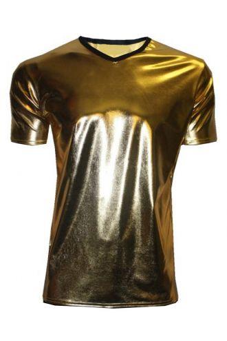 Men's Metallic Wetlook Shiny PVC Gold T-Shirt Club Wear Rave