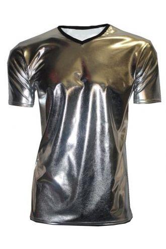 Men's Metallic Wetlook Shiny PVC Silver T-Shirt Club Wear Rave