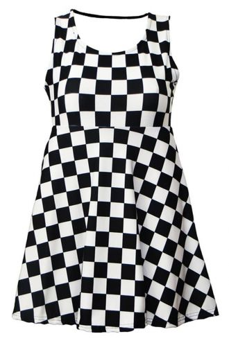 Girl's Children's Monochrome Chequered Chess Board Printed Sleeveless Skater Dress