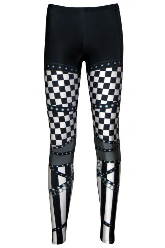 Monochrome Rock Metal Chequered Striped Chain Skater Pants Effect Alternative Printed Block Leggings