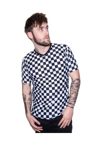 Monochrome Chequered Chess Board Printed V-Neck T Shirt