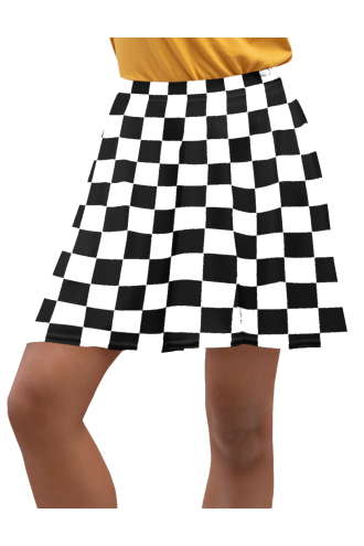 Check Mate! Checker Chess Mono Checker Board Abstract Printed Skater Skirt