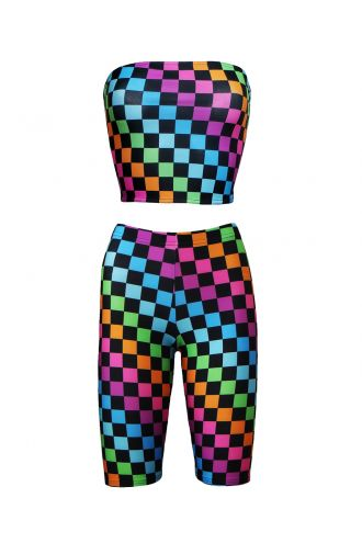 Rainbow Coloured Check Squares Print Sleeveless Crop Bandeau Top Cycle Shorts Coord Set