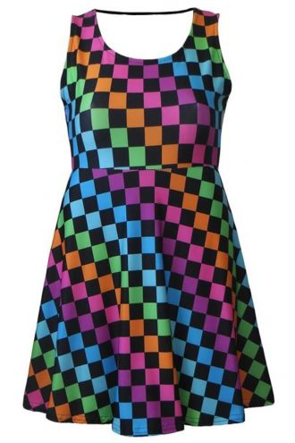 Girl's Children's Rainbow Coloured Check Squares Printed Sleeveless Skater Dress