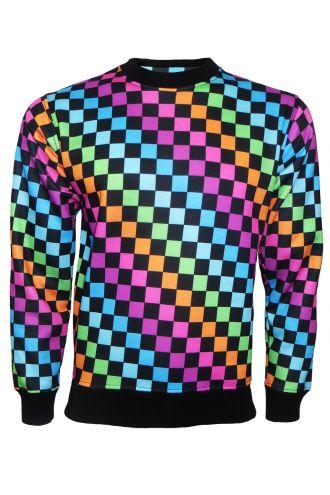 Rainbow Coloured Check Squares Designer Printed Crew Neck Sweatshirt Jumper Top