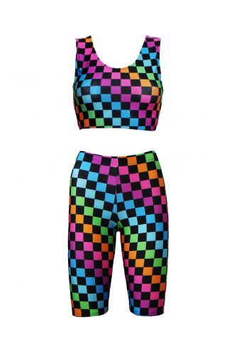 Rainbow Coloured Check Squares Print Sleeveless Crop Top Cycle Shorts Coord Set