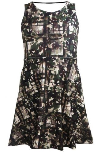 Girl's Children's Military Camouflage Tartan Printed Skater Dress