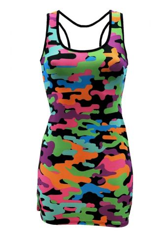 Multi Funky Camouflage Printed Long Vest Top