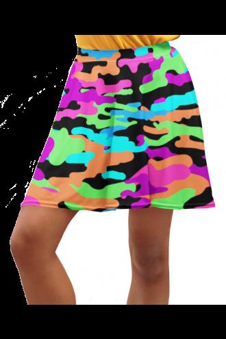 Multi Funky Camouflage Printed Skater Skirt
