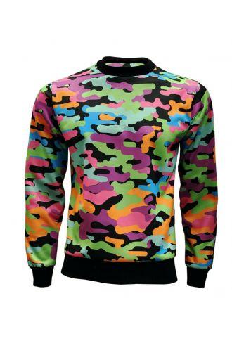 Multi Funky Camouflage Unisex Printed Crew Neck Sweatshirt Jumper
