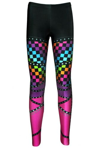 Rainbow Coloured Check Squares Rock Metal Chain Skater Pants Effect Alternative Printed Block Leggings