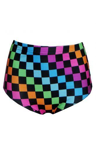 Rainbow Coloured Check Squares Print High Waist Bikini Bottoms