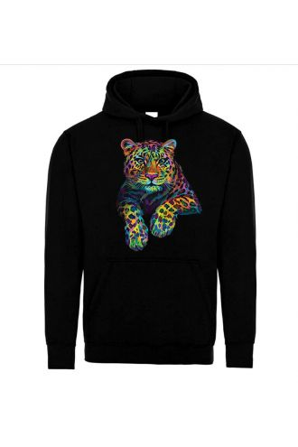 Unisex Multi Colourful Leopard Jaguar Pull Over Fleece Hoodie