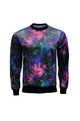 Galaxy Space Stars Printed Crew Neck Sweatshirt Jumper