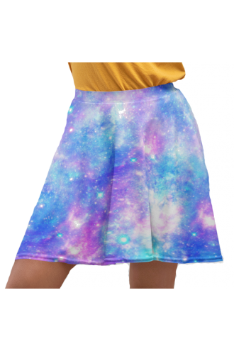 Multi Blue Galaxy Space Stars Printed Skater Skirt