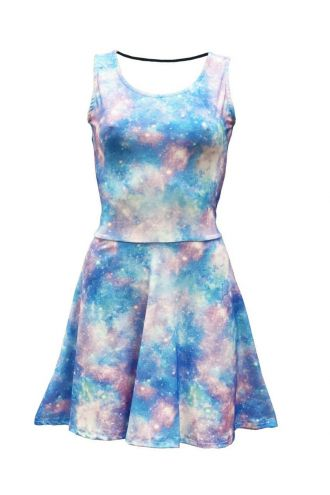 Light Galaxy Space Universe Stars All Over Printed Fit & Flared Sleeveless Skater Dress