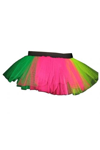 Neon UV Multi Colour Rainbow Tutu Skirt