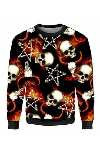 Occult Horned Ram Skull Bone Pentagram Flame Unisex Printed Crew Neck Sweatshirt Jumper