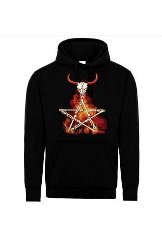 Occult Horned Skull Bone Pentagram Flame Pull Over Unisex Fleece Hoodie