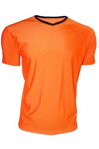 Men's Orange Neon Lycra Stretchy V-Neck TShirt Top Party Club Rave