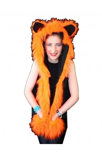 Neon UV Orange Fluffy Fur Scarf/Hood With Ears.