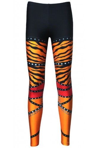 Orange Zebra Rock Metal Chain Skater Pants Effect Alternative Printed Block Leggings