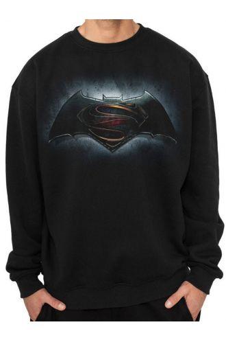 Official Batman Vs Superman Classic Logos Print Unisex Crew Neck Sweater Jumper