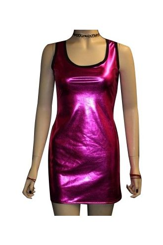 Pink Metallic Wetlook Shiny Long Vest Top