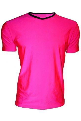 Men's Pink Lycra Stretchy V-Neck TShirt Top Party Club Rave
