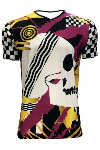 Pink & Gold Abstract Skull Chequer Men's V-Neck Designer T-Shirt Tee