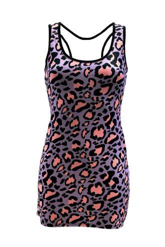 Pink Purple Leopard Animal Skin Printed Long Vest Top