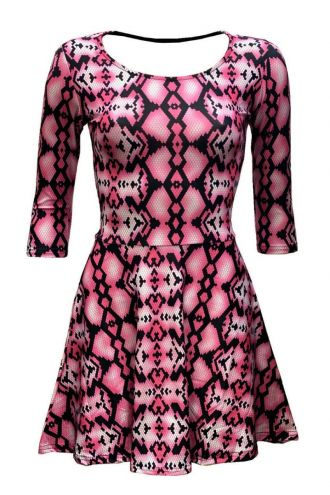 Pink Snake Skin Reptile Printed 3/4 Sleeve Skater Dress