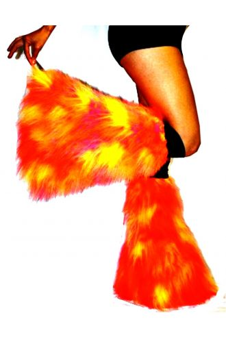 Pink And Yellow Neon UV Legwarmers/Boot Covers Fluffies Cyber Rave