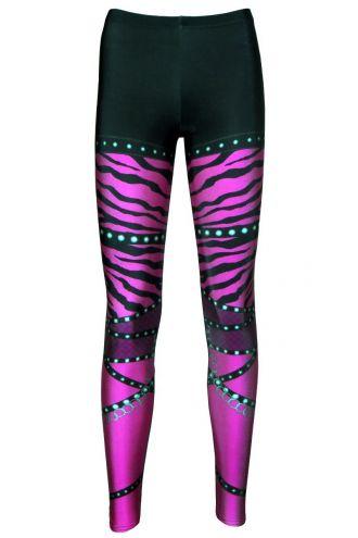 Pink Zebra Rock Metal Chain Skater Pants Effect Alternative Printed Block Leggings