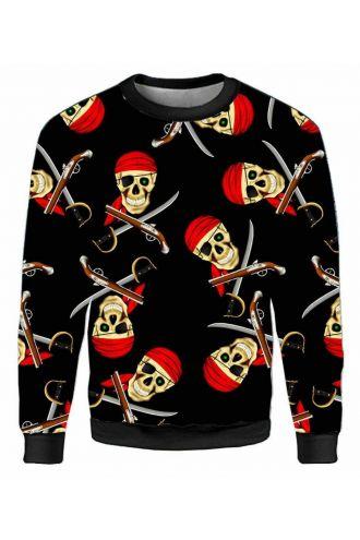 Skull Pirate swords Guns Unisex Fleece Printed Crew Neck Sweatshirt Jumper
