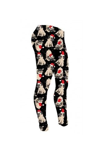 Girl's Cute Santa Christmas Pug Puppies Pattern Pets Lover Animal Printed Leggings